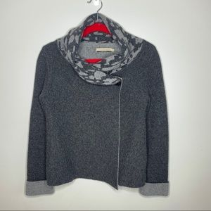 Wool blend cardigan sweater, charcoal Small